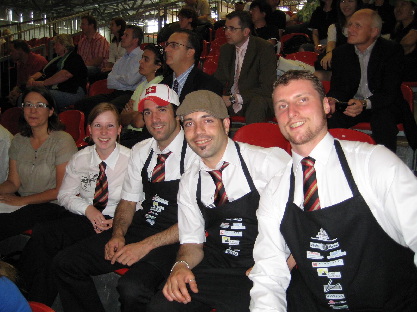 Das Schweizer Team an der coffena (v.l.): Barbara Held (Trainer), Sandra Stucki, Giovanni Meola (Trainer), Sylvain Ernst (Trainer) und Martin Egger