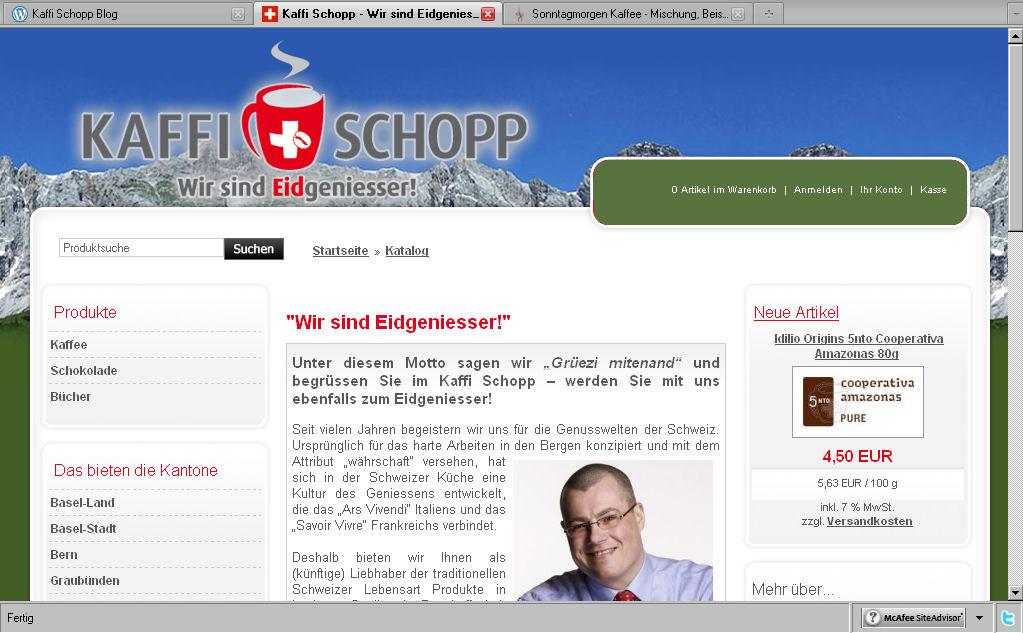 So präsentiert sich der Kaffi Schopp Webshop dem Besucher