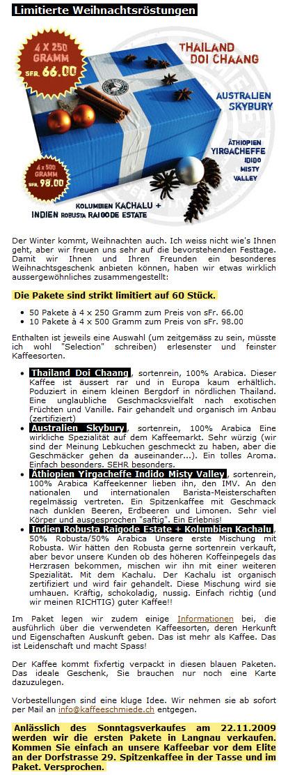 Die Weihnachtsröstungen der Kafischmitte Langnau i.E.
