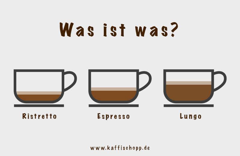 Unterschied zwischen Espresso, Ristretto und Longo Kaffee
