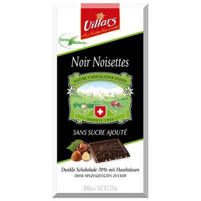 Villars Bitterschokolade Stevia Haselnüsse