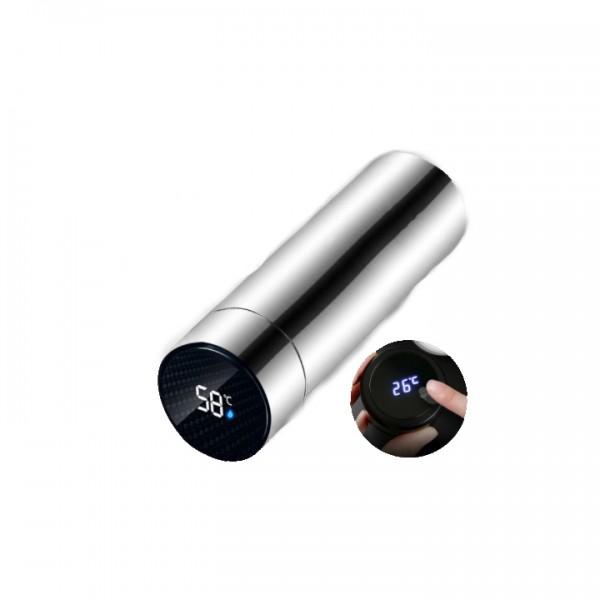 Smart Edelstahl Thermos Flasche mit Temperatur Display silber